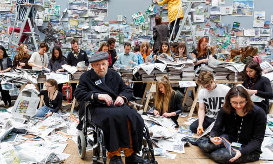 'We live in societies suffocating in waste' … Gustav Metzger with students from Central St Martins at his Remember Nature day of action in 2015.