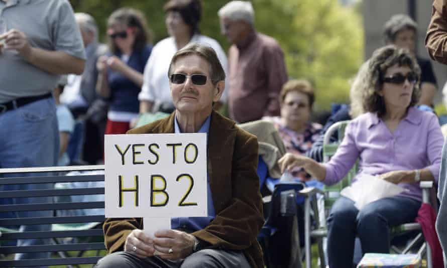 Supporters of the HB2 law gather at the North Carolina's state capitol in Raleigh last week.
