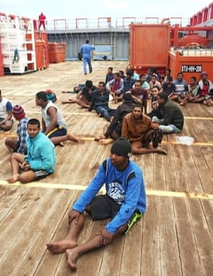 Conditions on board the Maridive 601 were insufferable, with little food and water, said aid groups.