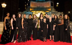 Time's Up movement campaigning against sexism and inequality supported by: (L to R) Letitia Wright, Hayley Squires, Ruth Wilson, Tessa Thompson, Marai Larasi, Laura Bates, Gemma Chan, Gemma Arterton, Gwen Davis, Andrea Riseborough, Eileen Pullen, Greta Gerwig, Salma Hayek, Phyll Opoku-Gyimah and Barbara Broccoli