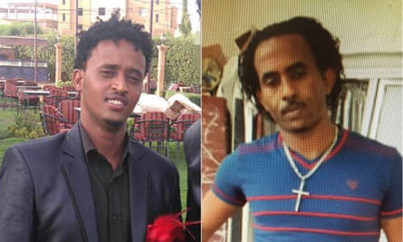 Composite of Medhany Tesfamariam Kigane on left, wrongly arrested in mistake for Mered Medhanie