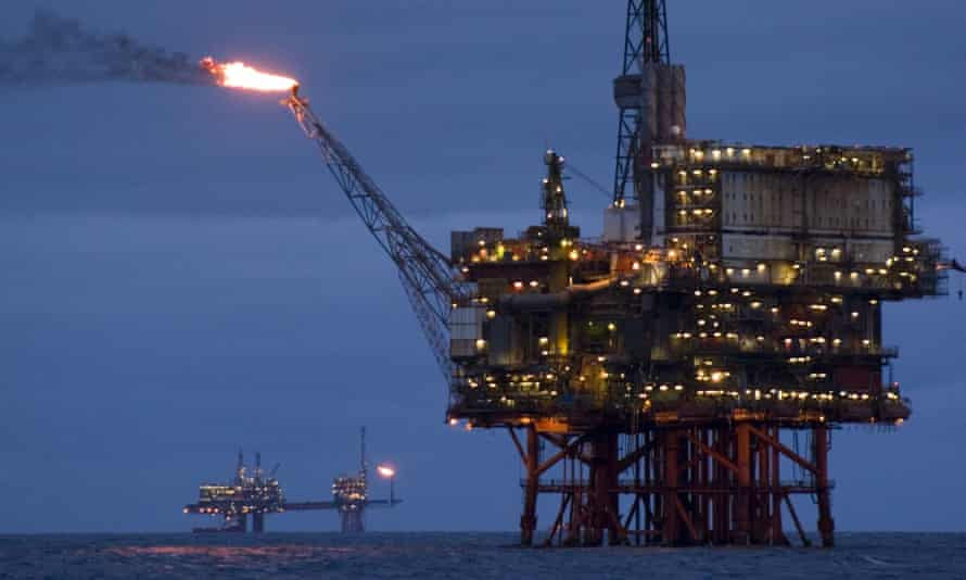 Oil and gas platform in the North Sea, off of Aberdeen, Scotland