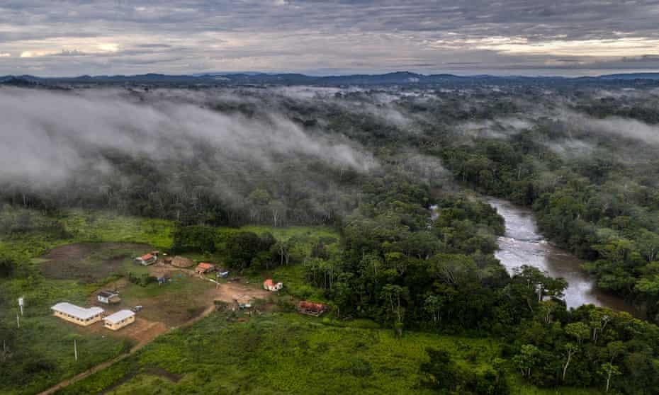 A mist covers the Aldeia Jamari in the Uru-Eu-Wau-Wau indigenous land on 16 December 2019.
