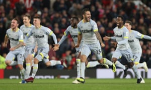 Jack Marriott, Mason Mount, Bradley Johnson and Florian Jozefzoon of Derby County celebrate their win