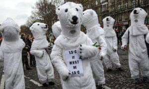 Activist dressed as polar bears.