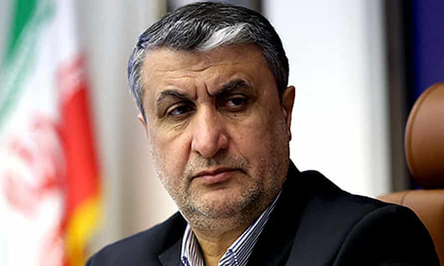 Vice-president and the head of Iran's atomic agency, Mohammad Eslami, seen above will meet with the International atomic agency's chief, Rafael Grossi.