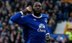 Romelu Lukaku celebrates scoring the first of his four goals against Bournemouth at Goodison Park.