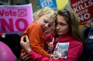 Demonstrators at a rally this month opposing the repeal of Ireland's near-total ban on pregnancy terminations.