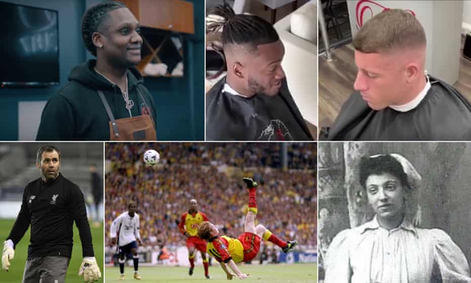 Barber Sheldon Edwards and two of his Chelsea clients, Michy Batshuayi and Ross Barkley; women's football pioneer Emma Clarke; Nick Wright scores for Watford in the 1999 play-off final; Liverpool coach Neil Edwards