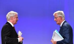 British Secretary of State for Exiting the European Union David Davis (left) and EU chief Brexit negotiator Michel Barnier