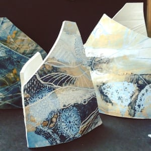 Reflected Landscapes (stoneware hand-built sculptures) by Gemma Tavner, 22, studies decorative arts at Nottingham Trent University. 'The sculptures are influenced by the forms of boats and sails, and decorated with coloured slip and scraffito techniques to reflect the natural landscapes inspired by my hometown Brightlingsea, Essex.'