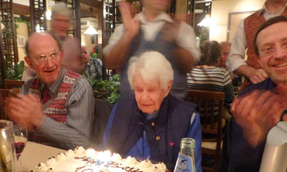 Joan Hocquard celebrating her 107th birthday