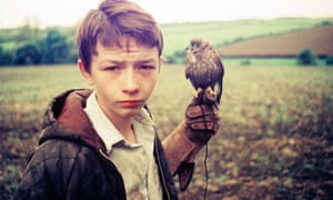 Actor David Bradley holding a kestrel in Ken Loach's 1969 film Kes