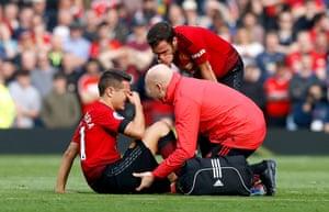 Ander Herrera receives medical attention