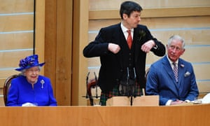 The Queen and Prince Charles listen to Ken Macintosh, presiding officer of the Scottish parliament,