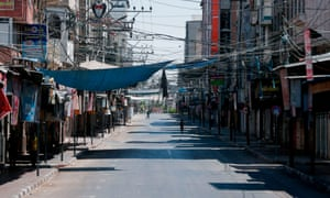The closed-down Fras market in Gaza City, amid a two-day lockdown due to the detection of first cases of Covid-19 in the general population.