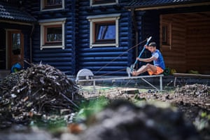 Canoeist Jiri Prskavec trains in front of his house during a coronavirus state of emergency in the Czech Republic