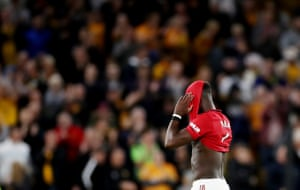 Pogba reacts at full time.