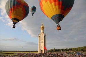 Belgorod, Russia Hot air balloons during a morning flight as part of the 7th Belogorye Sky international hot air balloon festival