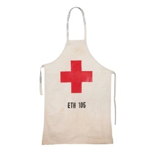 An apron made from a flour sack that was used during the Ethiopian famine, 1983-5