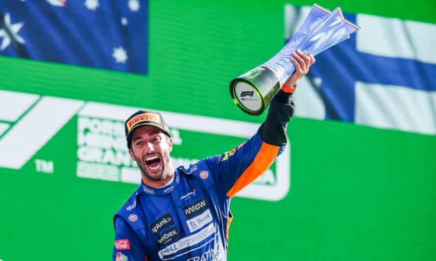 Daniel Ricciardo of Australia and McLaren celebrates his victory in the F1 Grand Prix of Italy.