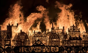 A model of London's 17th-century skyline blazes in a retelling of the story of the Great Fire of London in 1666