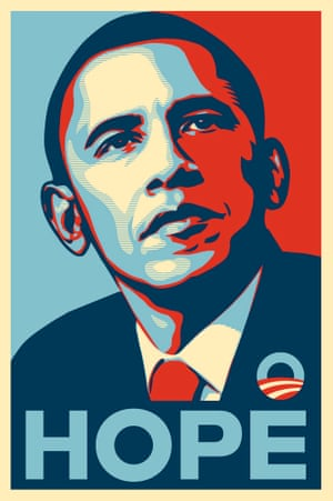 Shepard Fairey's graphic poster from 2008, with the slogan Progress changed to Hope by the Barack Obama team, captured the popular imagination and the mood of a nation. Its popularity helped secure the Democratic nomination for the senator from Illinois.