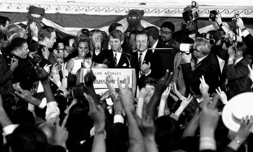 Robert F Kennedy addresses campaign workers moments before being shot in Los Angeles on 5 June 1968.