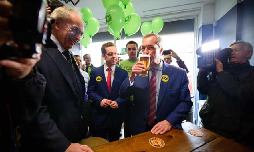 Nigel Farage, who has at one time or another endorsed all four of the groups, seen here enjoying an English ale.