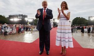 Donald and Melania Trump at the 4 July celebrations in Washington DC