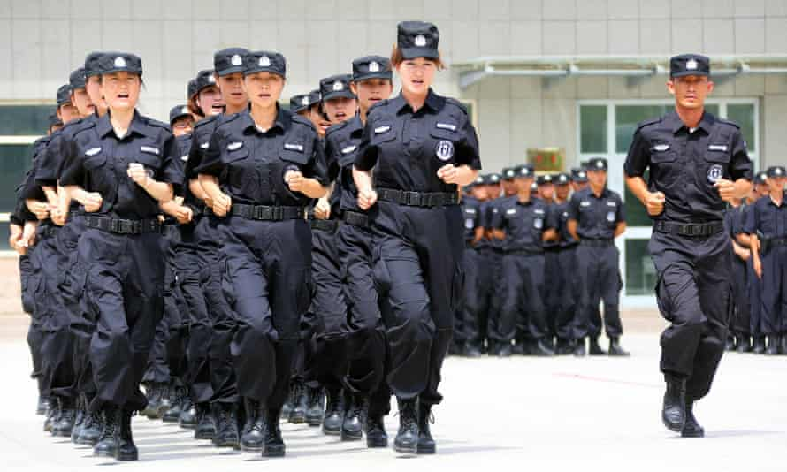 Policewomen from Special Weapons and Tactics (SWAT) t in Xinjiang