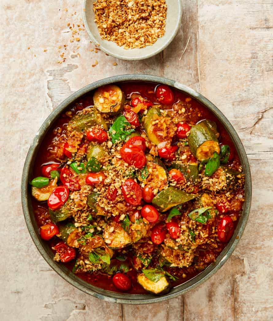 Yotam Ottolenghi's slow cooked courgettes and tomatoes with pangrattato.