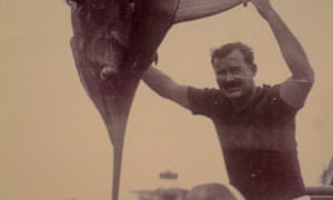 Ernest Hemingway with another blue marlin in 1936 on North Bimini, Bahamas.