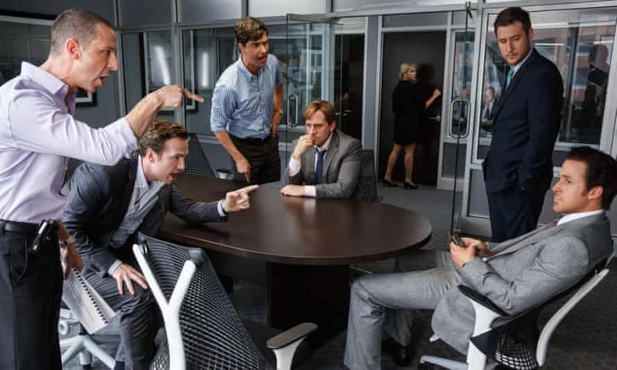 Jeremy Strong, Rafe Spall, Hamish Linklater, Steve Carell, Jeffry Griffin and Ryan Gosling in the film, The Big Short.