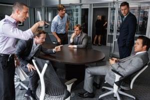 Penchant for braggadocio … Ryan Gosling, bottom right, as Jared Vennett.