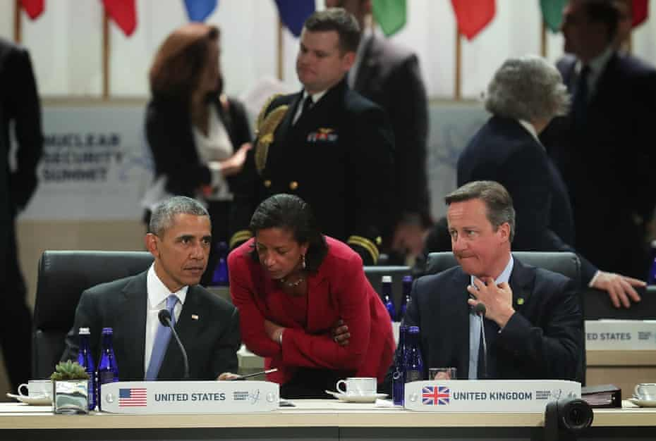 Barack Obama, Susan Rice and David Cameron look on during a scenario-based policy discussion of the 2016 Nuclear Security Summit.
