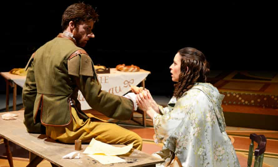 Christian Edwards as Cyrano and Sharon Singh as Roxane in Cyrano