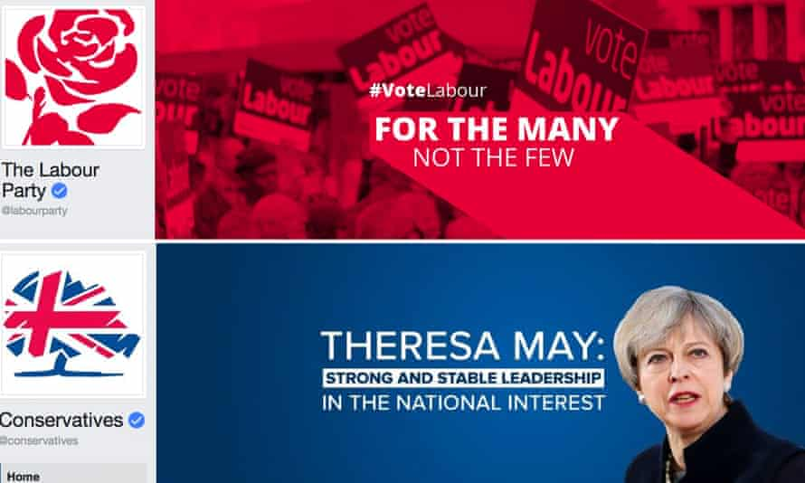 Labour and Conservative Facebook pages