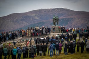 Current servicemen and veterans gather at the Commando Memorial at Spean Bridge in Scotland for the annual Remembrance Sunday ceremony.