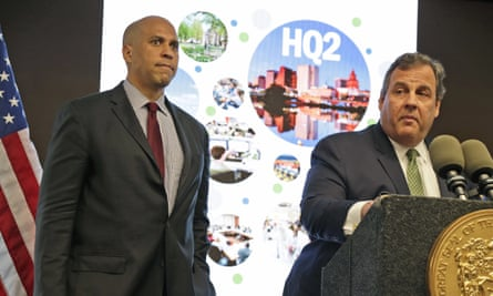 New Jersey senator Cory Booker, left, and governor Chris Christie announce they are submitting a bid to Amazon for HQ2.