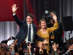 Trudeau and his wife, Sophie Grégoire, greet supporters in Montreal
