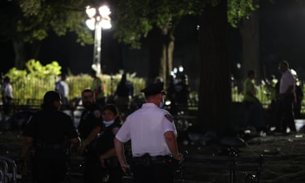 The NYPD clears protesters occupying City Hall Park since June 23 in New York City on Wednesday.