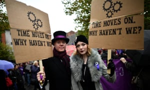 Protesters take part in the Rally for Choice march in Belfast last October, calling for equal abortion rights with the rest of the UK.