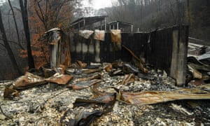 A house ruined by fire in Pigeon Forge, Tennessee, close to the Dollywood theme park.