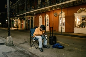 Haji Ahkba played trumpet on the corner of Royal Street and St. Peter St in the French Quarter of New Orleans, La. The corner is popular for musicians to play at and usually draws dozens of spectators. There was no one listening on this night due to the Covid-19 pandemic.