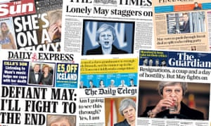 The front pages from papers in UK from 16 November following resignations and drama over Theresa May's Brexit deal