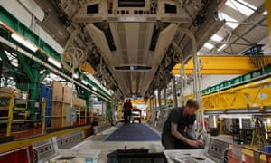 Technicians work on London Underground trains at the Bombardier manufacturing plant in Derby.