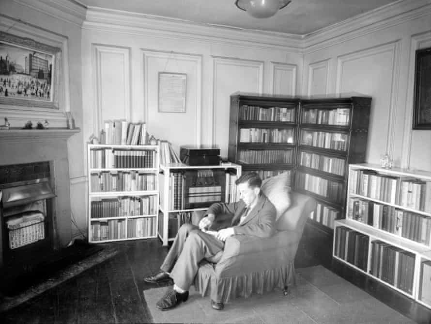 Leonard D Hamilton sitting in his rooms at Oxford.