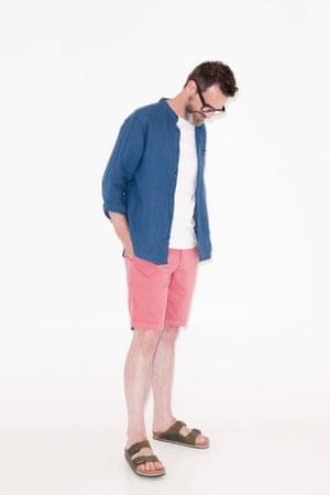 blue shirt Marks & Spencer, white t-shirt, J By Jasper Conran, Debenhams, coral pink shorts Faherty from Mr Porter, khaki birkenstock sandals , Birkenstocks.com