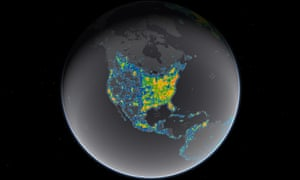 The bright areas on the map show where the glow from artificial lighting blots out the stars and constellations.